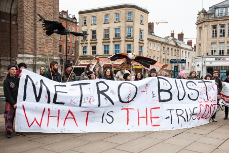 Metrobus campaigners take their protest to city centre. Bristol, UK