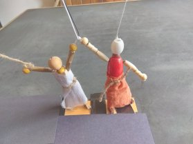 Bead puppets clothed 1